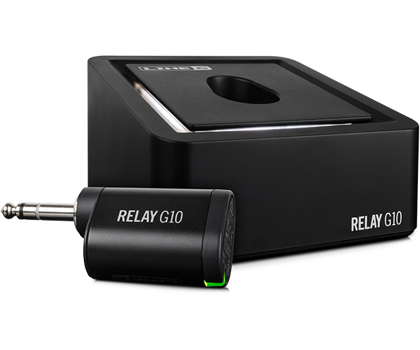 Line 6 Relay G10 guitar wireless product shot of receiver and transmitter