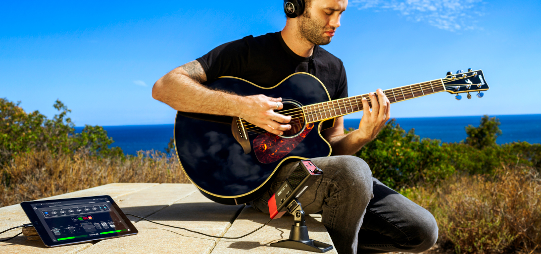 Mike Merrill recording with Line 6 Sonic Port VX mobile audio recording interface