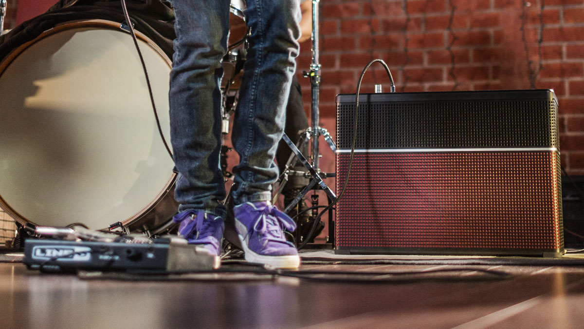 Line 6 AMPLIFi amp jamming at band rehearsal