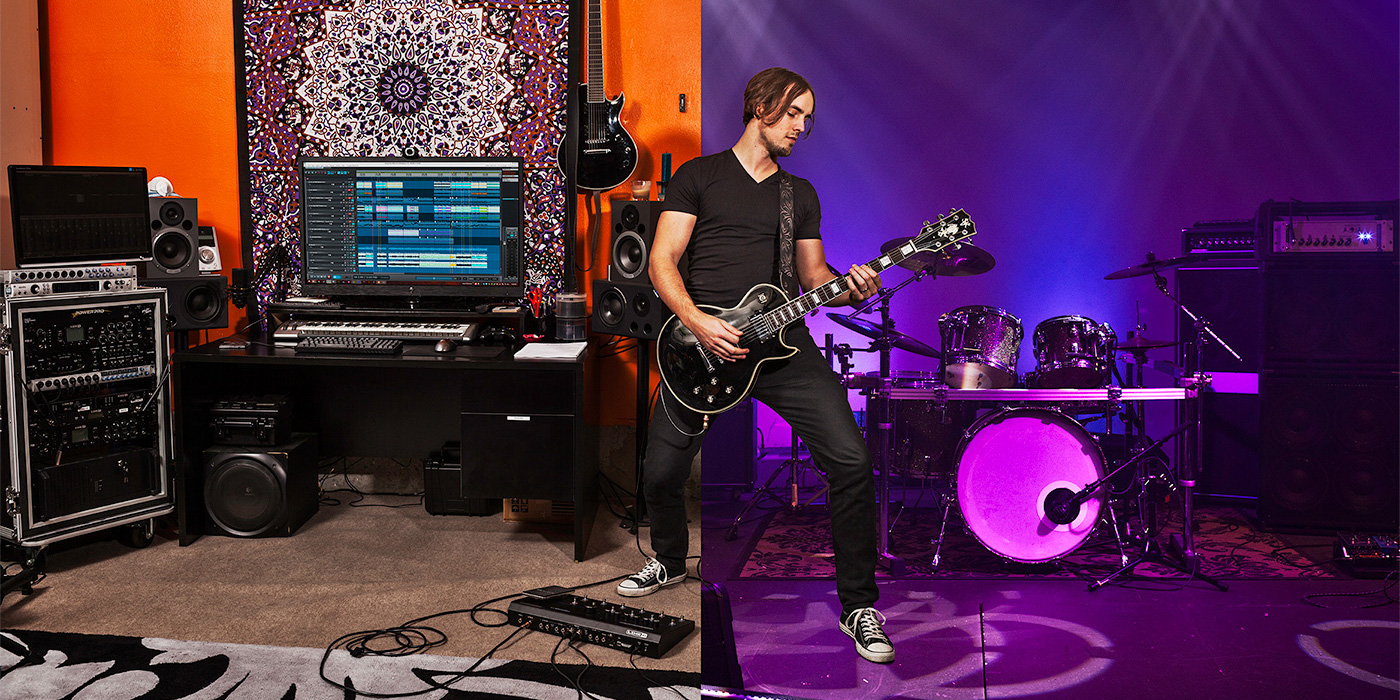 Line 6 Firehawk Amp and Effects photo of a guitarist stepping onstage from a recording studio
