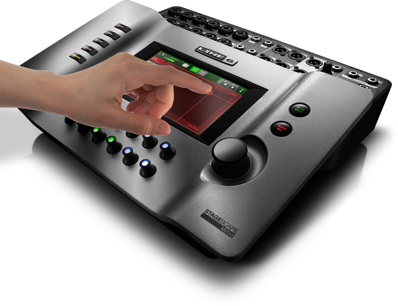 Line 6 StageScape M20d tweak parameters with the X-Y touch controller for digital mixing image