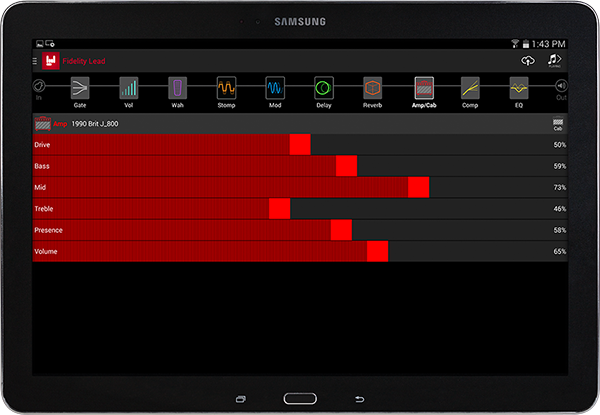 Line 6 AMPLIFi Remote app for iOS and Android image of app on tablet