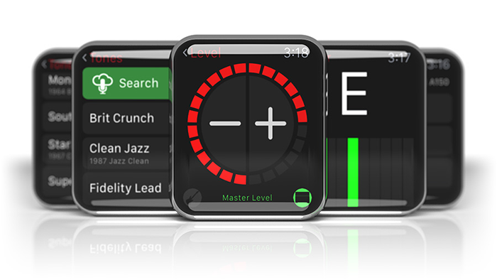 Image of Line 6 AMPLIFi Remote app for iOS and Android on Apple Watch.