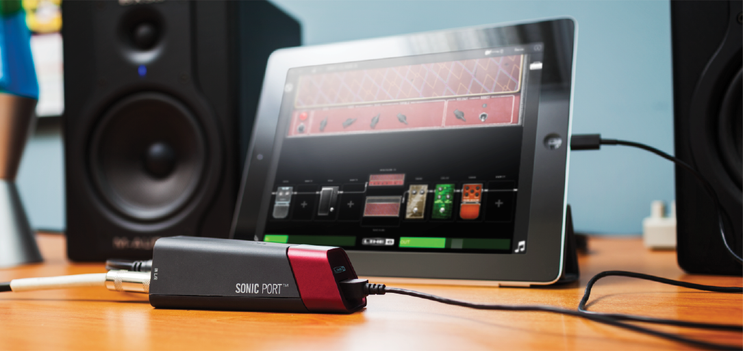 Line 6 Sonic Port guitar recording interface for iOS plugged into Mobile POD