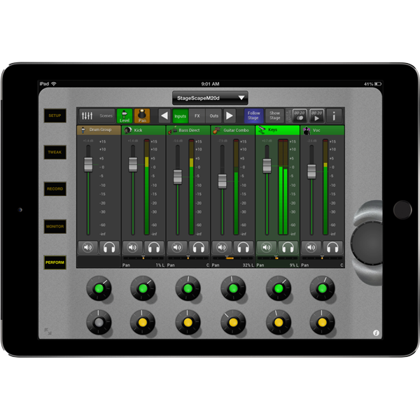Line 6 StageScape M20d iPad mix edit mode to mix digital live sound product image