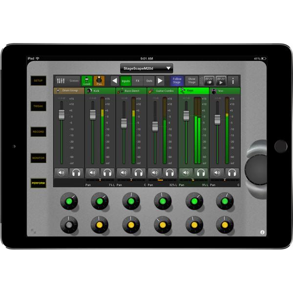 Line 6 StageScape M20d iPad mix edit mode to mix digital live sound product image