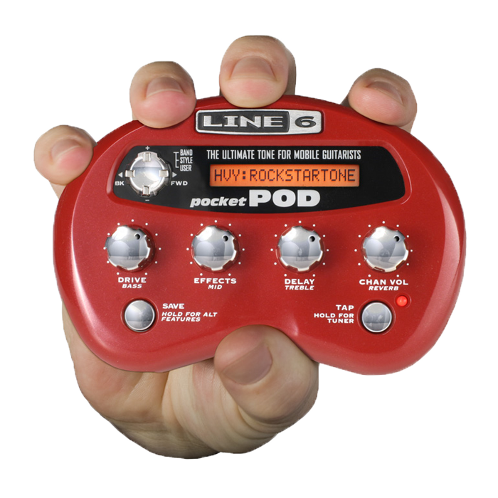 Line 6 Pocket POD personal multi effect processor for guitar and bass image.