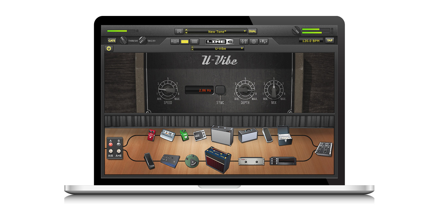 Line 6 POD Farm 2 plugin for almost any DAW for recording guitar into a computer image