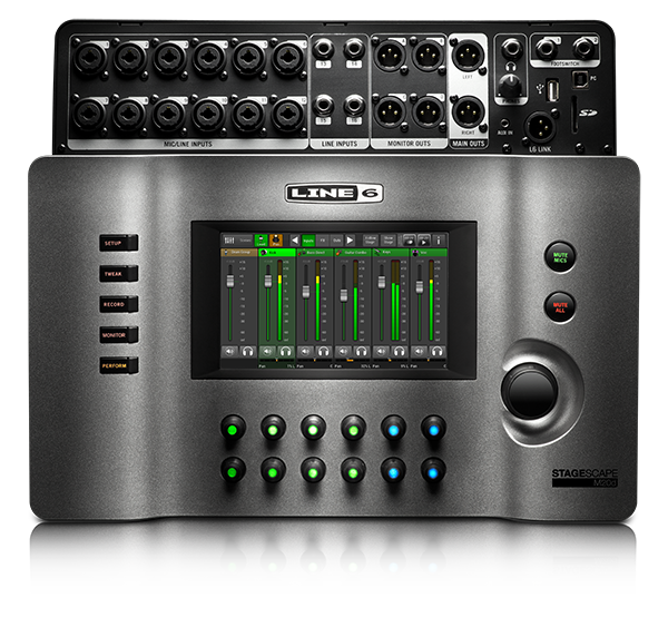 Line 6 StageScape M20d fader view to mix digital live sound software screen image