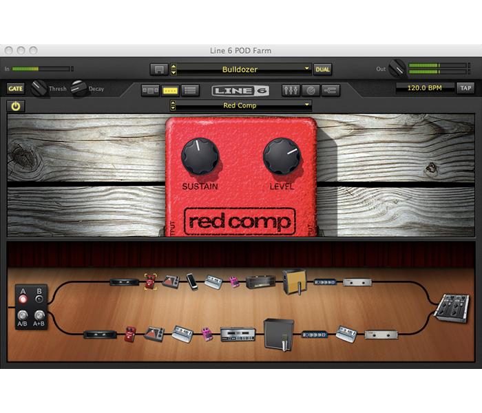 Line 6 POD Farm 2.5 complex routing window with amp and effects model signal chain image