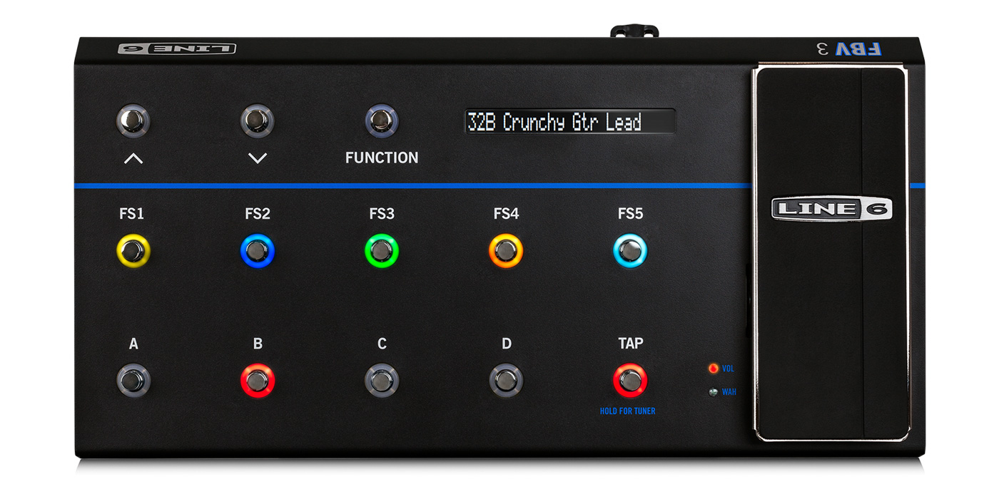 Line 6 FBV 3 foot controller with color LED rings, LED screen, and volume controller image