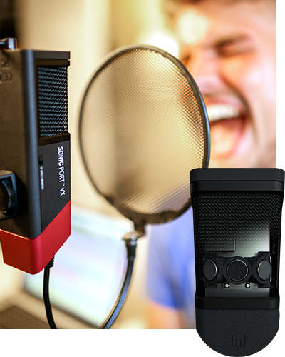 Bonavox singing into Line 6 Sonic Port VX audio recording interface
