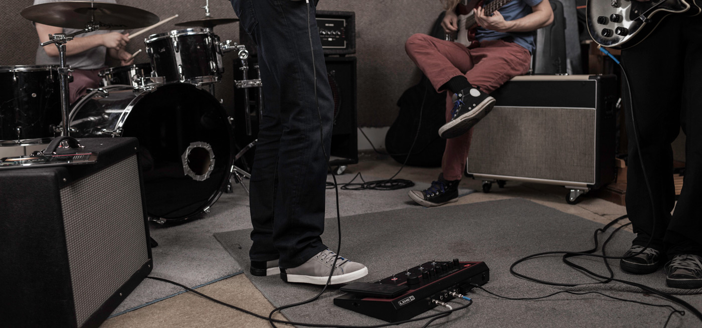 band rehearsal with Line 6 FX100 guitar effects pedal