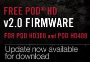 ダウンロード開始: POD HD300/POD HD400向け無償V2.0ファームウェア・アップデート